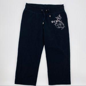 BCBGMaxazria Black Capri Pants With Embellish M